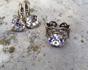 Swarovski crystal ring and earring set