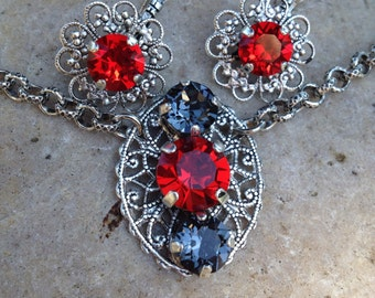 Stunning filigree swarovski necklace/earring set