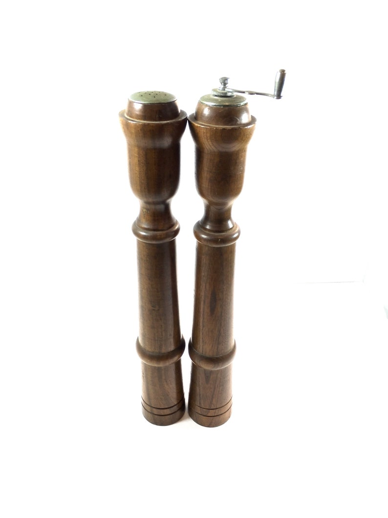 Large Wooden Salt And Pepper Shakers Pepper Mill Extra Large Set Of Wood Salt And Pepper Steel Country Decor 1970s Kitchen