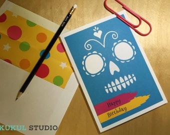 Happy Birthday Card.  Handmade Greeting Card. Sugar Skull Card. Skull Card. Greeting Card. Birthday Card. Blank Birthday Card. Sugar Skull