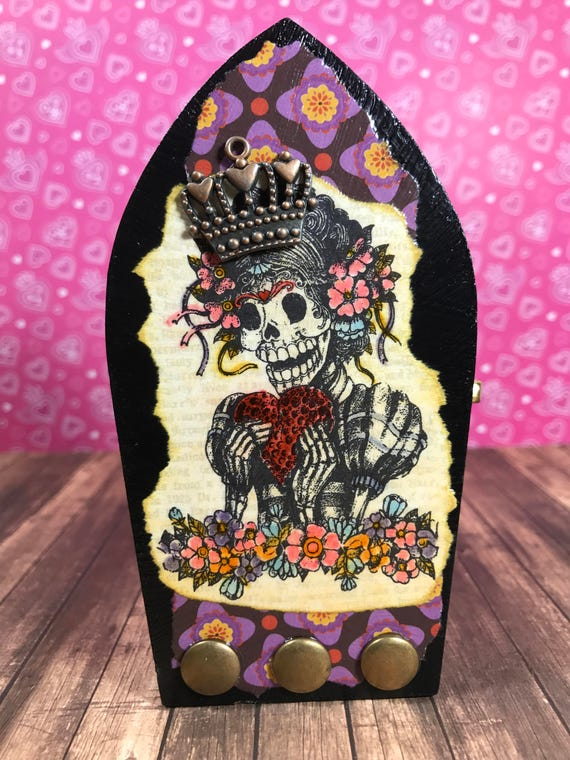 Sugar Skull Decorative Craft Trinket Metal Tin Box Set of 2
