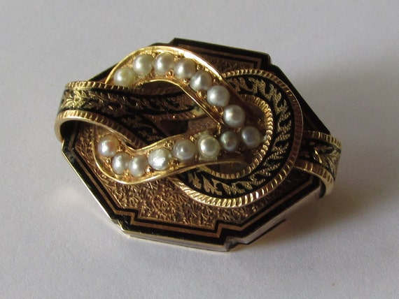Victorian Enamel, Seed Pearl and Gold Brooch, Upcy