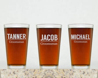 Groomsman Glass | Groomsman Gift, Personalized Groomsman Glass, Groomsmen Glass, Custom Pint Glass, Custom Beer Glass, Personalized Pint
