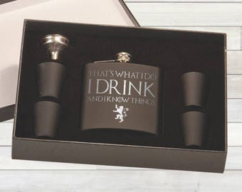 Game of Thrones Flask Set. That's What I Do I Drink and I Know Things. Tyrion Lannister. Pocket Flask. Hip Flask.