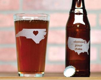 Custom Beer Glass - Pick Any State - Custom Pint Glass - Pint Glass - Beer Glass - Pint Glasses - Beer Glasses - State Beer Glass