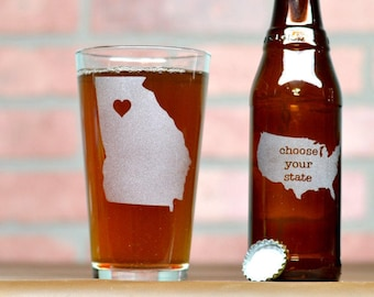 Custom Beer Glass - Beer Glass - Custom Pint Glass - State Beer Glass - State Pint Glass - Pint Glass - Groomsmen Gift