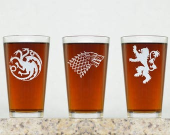 Game of Thrones Inspired Pint Glasses | Game of Thrones House Crests. GOT House Crests. GOT Pint Glasses. Game of Thrones Glass. GOT