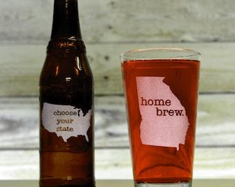 Custom Beer Glass. Pick Any State & Text. Custom Pint Glass. Glassware. Drinkware. Beer Mug. Beer Gifts.