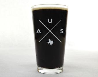 Austin Pint Glass | Austin Glass - Beer Glass - Pint Glass - Beer Glasses - Pint Glasses - Beer Mug - Austin Texas - Custom Pint