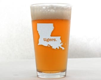 LSU Beer Glass. Pint Glass. Beer Gifts. Mancave. Custom Etched