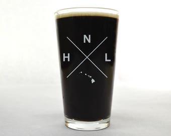 Honolulu Glass | Honolulu Pint Glass - Beer Glass - Pint Glass - Beer Glasses - Pint Glasses - Beer Mug - Honolulu Hawaii