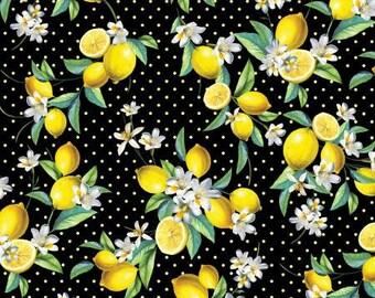 09cd6d36915a Kanvas Lemon Fresh Bouquet #07838-12 Yellow Lemons on Black and White Dot  Quilting Cotton Fabric, Napkins, Curtains, Garments - FWM