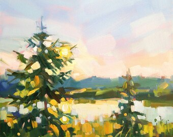 """The Month of August Original Oil Painting on canvas 12""""x12"""" Modern Impressionistic Canadian Landscape by Vera Kisseleva"""