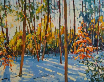 """The Warmth of your Love Original Acrylic Painting on gallery style canvas 24""""x36""""  Modern Impressionist Canadian Landscape by Vera Kisseleva"""