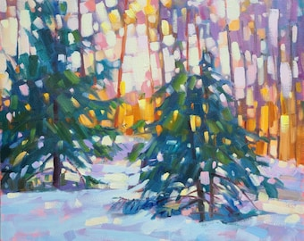 """Sunbathing Pines Original Oil painting on gallery style canvas 20""""x20"""" Modern Impressionistic Canadian Winter Landscape by Vera Kisseleva"""