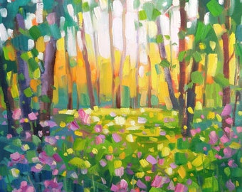 Original Oil painting on gallery style canvas Modern Impressionist Summer Landscape by Vera Kisseleva