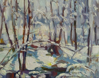 Original oil painting on gallery style canvas 12x12 inches Canadian Impressionistic Winter Landscape by Vera Kisseleva