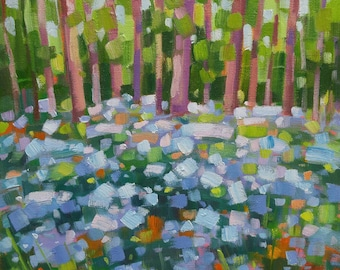 "Blue Flowers original oil painting on canvas 12""x12"" Modern Impressionistic Canadian Landscape by Vera Kisseleva"