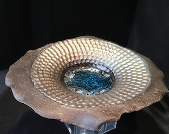 """Metallic and Black Clay """"Manifestation Bowl"""" Pottery Featuring Crystal-Like Teal Glass"""