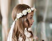 First holy communion head wreath with veil Magaela accessories White floral wreath Hair accessories Holy communion Hair flowers Flower crown