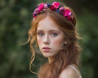 Raspberry flower headband Bridal magenta headpiece Wedding accessories Bride to be Pink wedding Hair flowers Flower headpiece Magaela