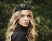 Black flower crown Evil queen tiara Black Mean queen tiara Elegant black crown Magaela accessories Wedding Halloween crown Handmade