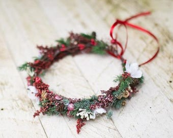 Christmas wreath Children hair wreath Children wreath in red-green combination Hair wreath for flowergirl Flower hair wreath