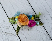 Colorful hair comb Summer hair comb Hair comb with spring flowers Hair comb in rainbow colors Romantic bridal comb Bridal hair jewellery