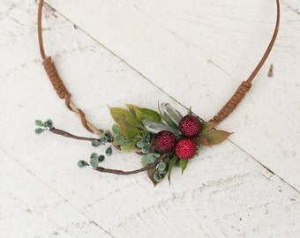 Necklace with crystal and frozen raspberries, Winter necklace, Flower Necklace, Elegant Necklace, Wedding Necklace Bridal necklace