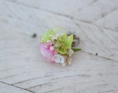 Spring flower ring Floral ring with fresh colors Adjustable size ring Green Pink White  Ring for bride Ring for everyday use Without nickel