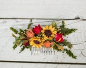 Summer hair comb Hair comb with sunflowers Hair comb in red-green-yellow combination Romantic bridal comb Wedding comb Bridal hair jewellery