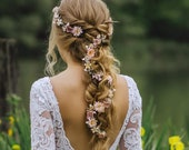 Customisable Flower Hair Garland Wedding Hair Flowers Head Wreath Flower Crown Cherry Blossoms Pink White Bridal Wreath Fairy Wreath Magaela