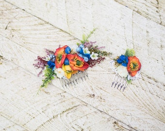 Set of colourful hair combs Flower hair combs Mini hair comb Set of hair combs Magaela accessories Wedding accessories Bridal accessories