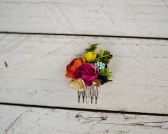 Mini hair comb Colorful hair comb Summer hair comb Hair comb in rainbow colors Romantic bridal comb Bridal hair jewellery