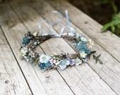 Children blue wedding wreath Flower crown Adjustable wreath Hair accessories Bridal wreath Magaela accessories Handmade product Hair flowers
