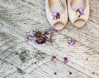 7757a5affe1975 Violet wedding set Floral hair clip Wedding set Bridal earrings Floral ring  Shoe clips Magaela accessories Hair flowers Bridal accessories
