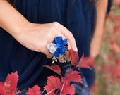 Blue flower ring Winter handmade ring Flower ring Floral ring Handmade jewelry Wedding floral accessories Ring