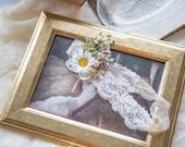 Romantic wedding garter on lace Elegant bridal garter Wedding accessories Flower garter for bride Meadowy bridal garter Magaela accessories