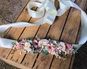 Wedding set of accessories Hair accessories Bridal belt Floral belt Bridal bouquet wedding bouquet Quarter wreath Wedding set