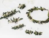 Greenery wedding set Flower wreath Bracelet for bride Small greenery hair comb Baby's breath wedding 2021 bride Handmade Magaela Custom made