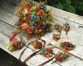 Autumn flower set with blueberries Fall Wedding bouquet Autumn style Floral bracelets Boutonniere Buttonhole Wedding garterBridal