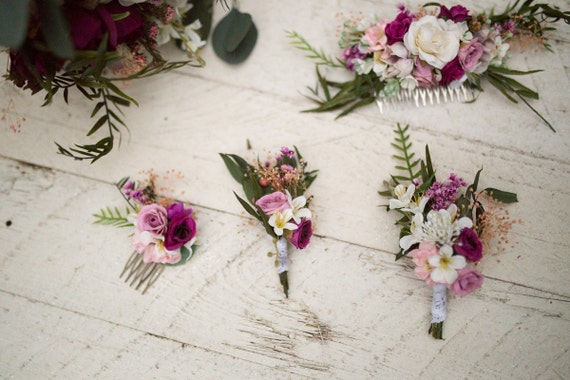 Mini Haarkamm Blumen Rosa Creme Blumen Hochzeit Kamm Braut Etsy