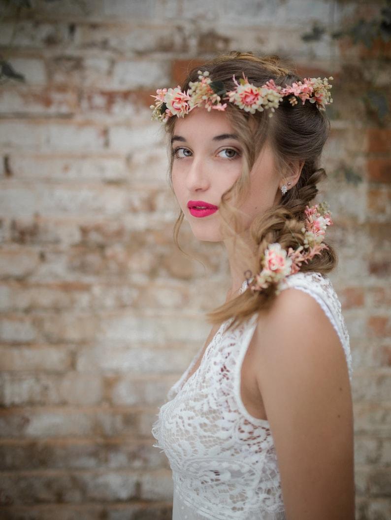 Flower Hair Garland Wedding Hair Flowers Head Wreath Flower  474fe299753
