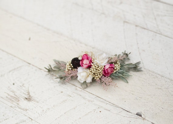 Flower Hair Comb Floral Pink White Fairy Hair Flowers Wedding Etsy