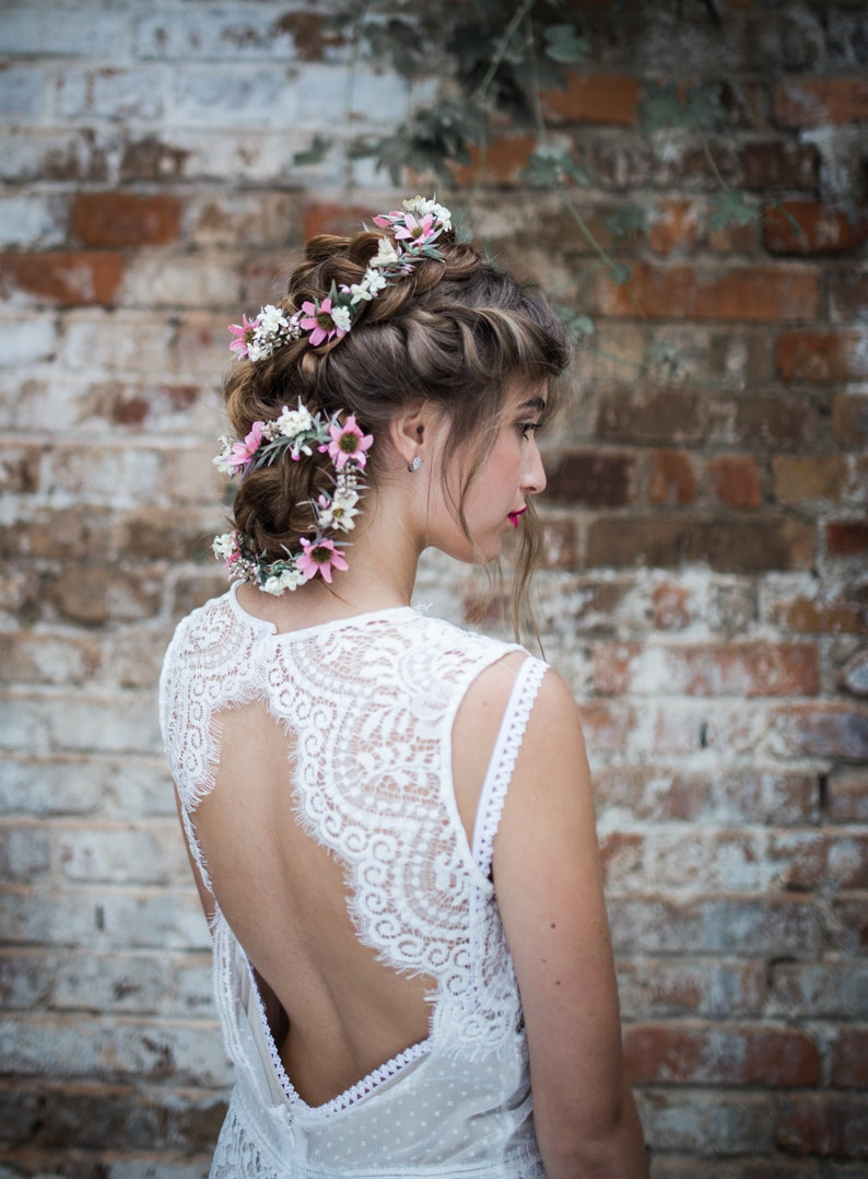 Romantic pink and white Flower Hair Garland Wedding Hair  8961fe59340