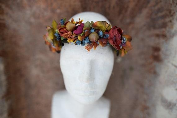 Halbe Blumenkranz Fallen Blume Krone Kopf Kranz Herbst Etsy