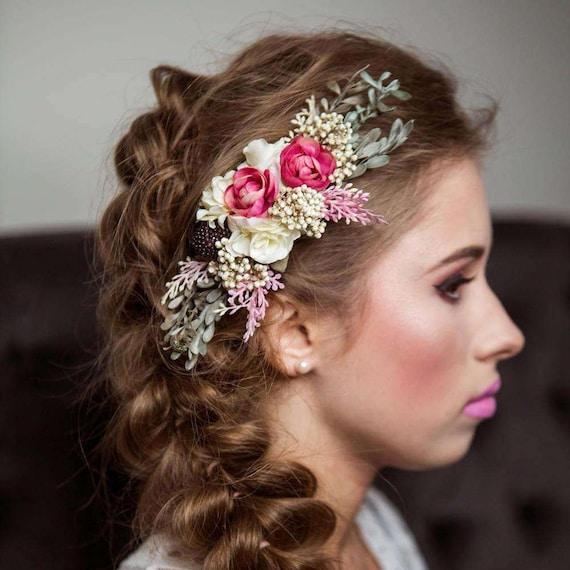 Blume Haare Kammen Blumen Rosa Weiss Fee Blumen Hochzeit Kamm Etsy