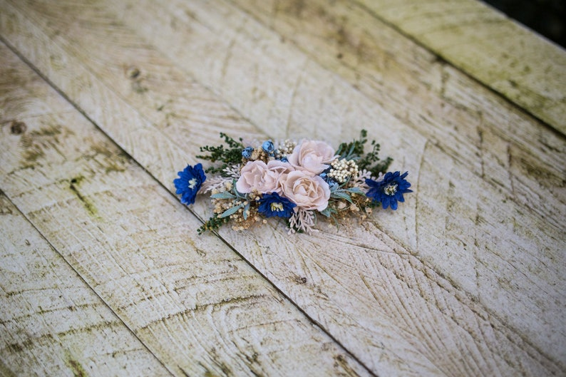 Decorative wedding hair comb Royal blue and pink floral hair comb Wedding accessories Magaela Hair accessories Handmade product Brides comb