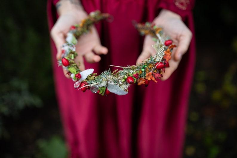 Christmas winter hair wreath with rose hips Hair crown Flower hair crown Christmas hair wreath Magaela accessories Wedding hair wreath