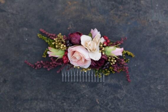 Flower Hair Comb Floral Pink Burgundy Fairy Hair Flowers Etsy